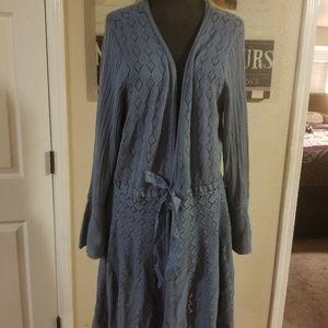 Blue knit wrap sweater/ dress